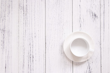 Retro vintage white painted wood floor ceramic coffee cup background template