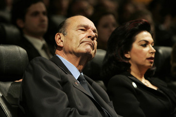 French President Jacques Chirac and Rafik Hariri's widow, Nazek Hariri, attend a ceremony in memory of Rafik Hariri at the Arabic World Institute in Paris