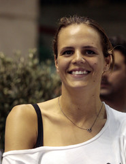 Manaudou reacts after Bousquet's new world record in men's 50 meters freestyle during the French Open Swimming Championships in Montpellier