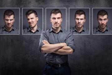 Mann mit verschiedenen Gesichtsausdrücken