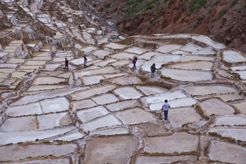 Maras Saltpan Salinas in the Sacred Valley of the Incas, near Cusco, Peru, South America