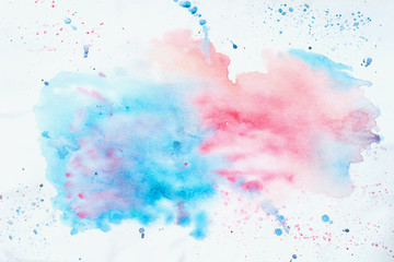 Abstract colorful watercolor hand drawn image for splash background, pink and blue shades on white. Artwork for creative banner, card, template, design