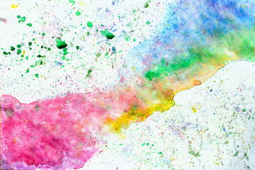 Abstract multicolorod watercolor hand drawn image for splash background, rainbow shades on white. Design artistic element for creative banner, card, template, design