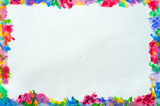 Colorful border for text or banner, card, template, design, formed by hand painted bright flowers with blots, splashes of watercolor. Abstract background
