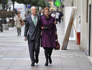 British architect Foster and his wife Elena Ochoa walk in the streets of Oviedo
