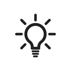 Light bulb line icon vector. Electric lamp in flat style. Idea sign, solution, thinking concept.