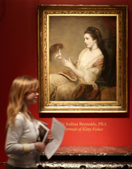 A portrait of Kitty Fisher by artist Sir Joshua Reynolds is viewed at Sotheby's
