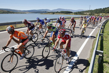 Riders cycle during the sixth stage of the Tour of Spain cycling race between Reinosa and Logrono