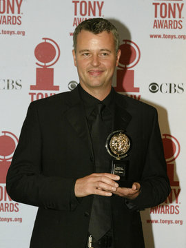 """TIM HATLEY WITH TONY AWARD FOR BEST SCENIC DESIGN FOR """"PRIVATE LIVES""""."""