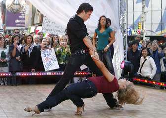 Olympic gymnast Johnson and her Dancing With The Stars partner Ballas perform on ABC's Good Morning America in New York