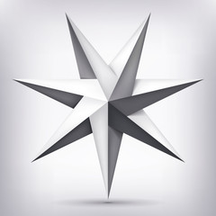 Volume seven-pointed twisted star, 3d object, geometry shape, mesh version, abstract vector