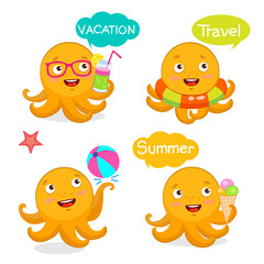 Set Vacation Icons And Balloons. Summer Travel Illustration Characters Mascot. Summer With Cute Octopus. Vector Tentacle. Funny Cartoon Octopus Character Design Set.