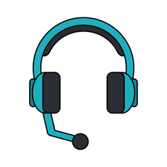 color image cartoon headphones with microphone vector illustration