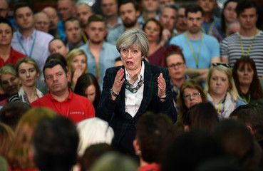 Britain's Prime Minister Theresa May speaks at a general election campaign event at marketing services group Linney, in Mansfield