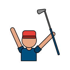 color image cartoon faceless half body golfer man with golf club vector illustration