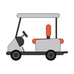 color image cartoon golf cart vehicle vector illustration