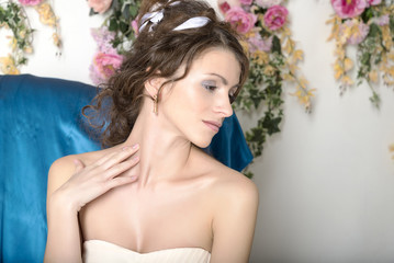Girl in white dress closeup.