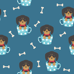 Dachshund puppy seamless pattern