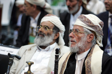 Tribal chieftains attend the conclusive meeting of the National Deliberation Forum in Sanaa