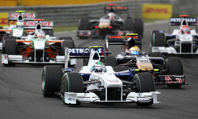 BMW Sauber Formula One driver Heidfeld of Germany leads in front of the pack during the Hungarian F1 Grand Prix in Budapest