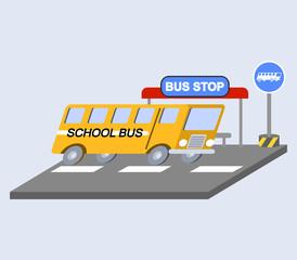vector illustration of school bus flat skew icon