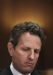 U.S. Treasury Secretary Timothy Geithner listens to opening remarks  before testifying at a hearing before a Congressional Oversight Panel overseeing the expenditure of the Troubled Asset Relief Program (TARP) on Capitol Hill in Washington