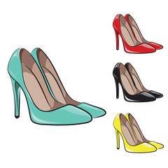 Set of women's shoes in various shades. Vector illustration