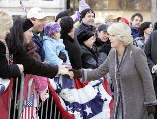 Britain's Duchess of Cornwall greets well-wishers at Independence Hall in Pennsylvania