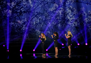 "Netherlands' O'G3NE performs with the song ""Lights and Shadows"" during the Eurovision Song Contest 2017 Semi-Final 2 Dress rehearsal 1 at the International Exhibition Centre in Kiev"