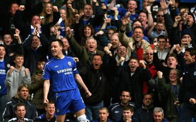Chelsea's Terry celebrates scoring a goal against West Ham at Stamford Bridge