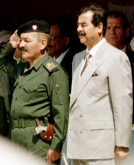 -FILE PHOTO TAKEN 96- A 1996 file photo shows former Iraqi President Saddam Hussein (R) and his depu..