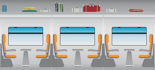 Flat Design of Inside Passenger train
