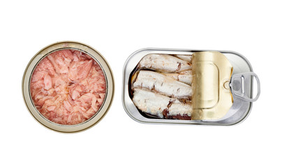Opened cans of preserved fish