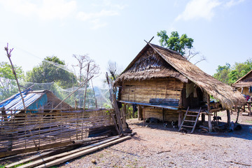 Hut Tribe On the way in Laos