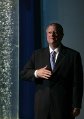 Former U.S. Vice President Al Gore talks during a conference in Mexico City
