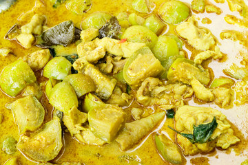 Delicious and Spicy Curry with spices and chicken