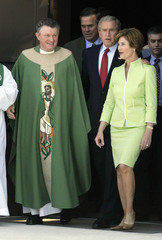 U.S. President George W. Bush leaves a Sunday church service in Miami.