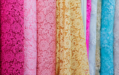 Color lacework Cloth roll in display store