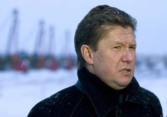 Head of Russian gas export monopoly Gazprom Alexei Miller speaks during his visit to construction site of a pipeline outside city of Ukhta