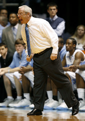 University of North Carolina head coach Roy Williams coaches his team against Virginia Tech in Chapel Hill