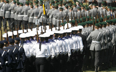 Marine soldiers of the German army Bundeswehr march after a solemn pledge ceremony for new recruits in Augustdorf