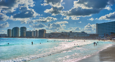 """Mexican Beaches in Cancun / Main beach at Hotel Zone of Cancun between """"Chac mool"""" and """"Gaviota"""""""