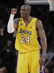 Los Angeles Lakers Kobe Bryant celebrates during NBA Western Conference final basketball playoff series in Los Angeles