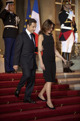 France's President Sarkozy welcomes Iraq's President Talabani at the Elysee Palace in Paris