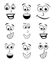 cartoon face set vector symbol icon design.
