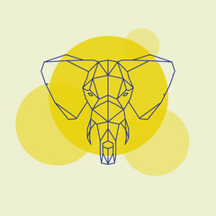 Elephant head geometric lines silhouette isolated on a yellow circle.
