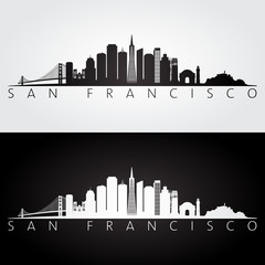 San Francisco USA skyline and landmarks silhouette, black and white design.