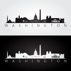 Washington USA skyline and landmarks silhouette, black and white design.