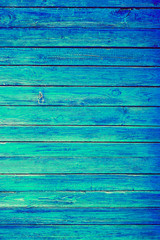Blue or Azure Wooden Wall Planks Vertical Texture. Old Retro Wood Rustic Shabby Background. Peeled Azure Weathered Surface. Natural Wood Board Panel.