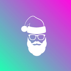 Silhouette of Santa Claus with a beard, mustache and glasses on a colorful background.